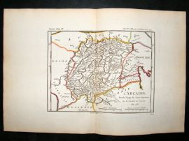 Barthelemy 1790 Antique Map Arcadia, Messenia, Greece
